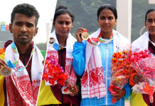 Anuradha Indrajith Cooray with his Silver Medal and Geethani Raju and Lakmini Anuradhi with the Silver and Bronze Medals.