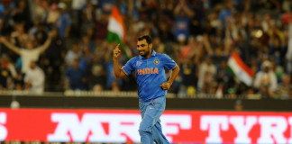 India's Mohammed Shami celebrates taking the wicket during the 2015 Cricket World Cup quarter-final