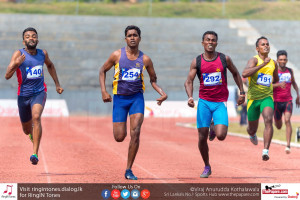 Pradeep Sanjaya cruising his way through in his heat of T46 class 400m event at the National Para-Athletic Championship