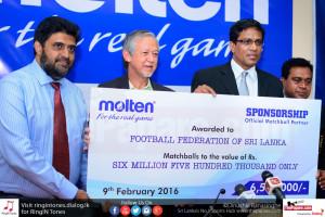 Molten 'Official Match Ball Partner' of FFSL - Handing over the Cheque